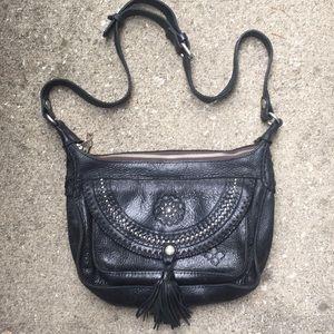 Patricia Nash black leather studded bag